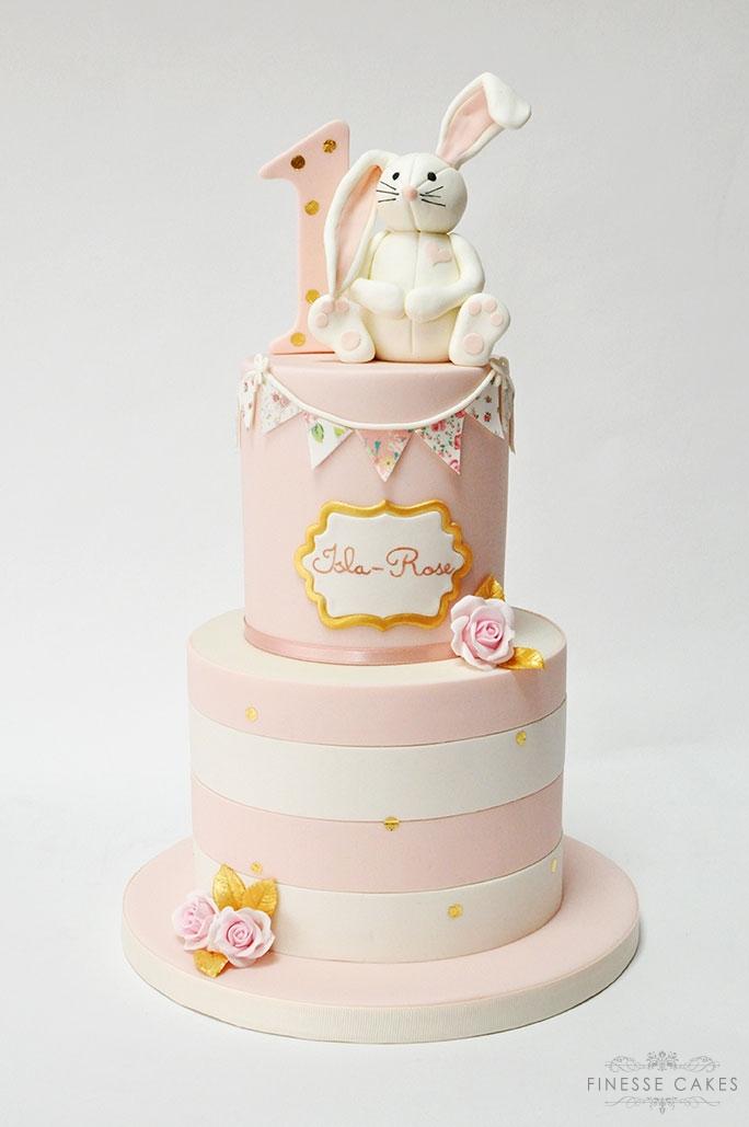 bunny rabbit cake bunting 1st birthday girl