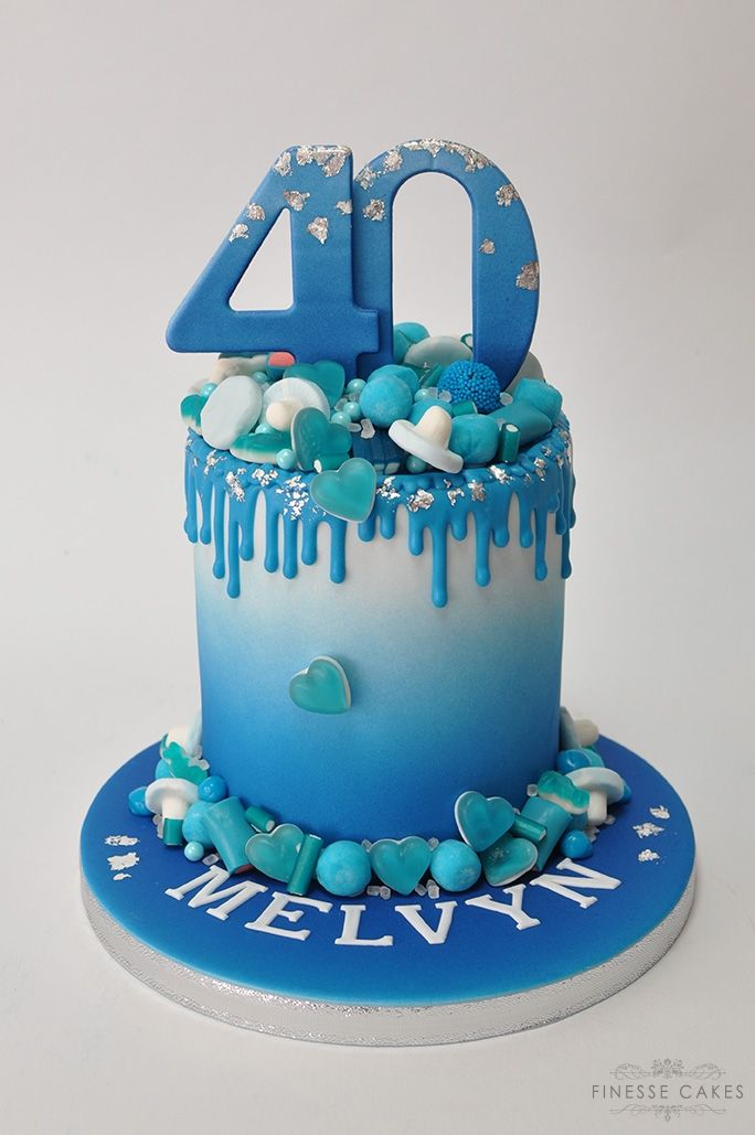cakes for men birthday 40th drip blue cake southend hockley rayleigh essex