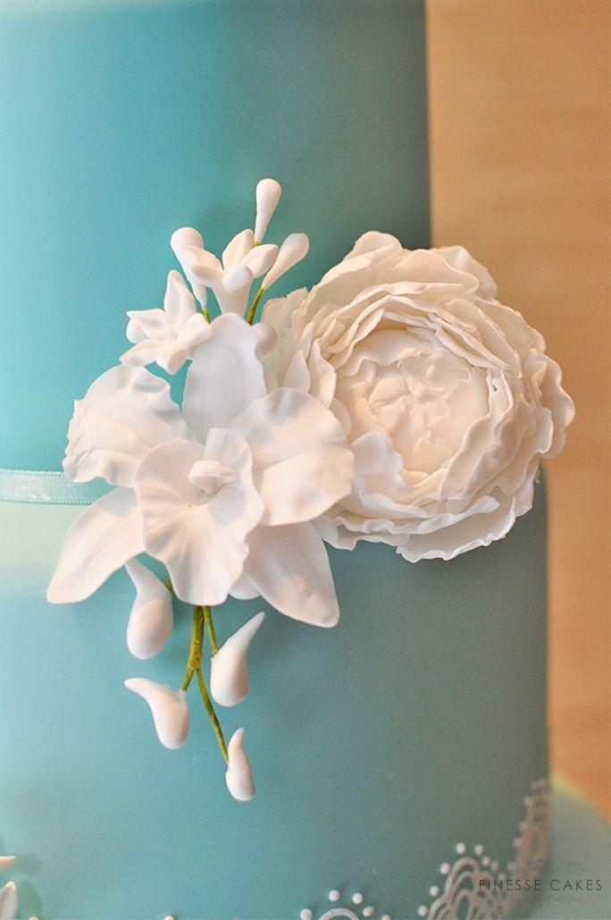 sugar gumpaste peony orchid white essex