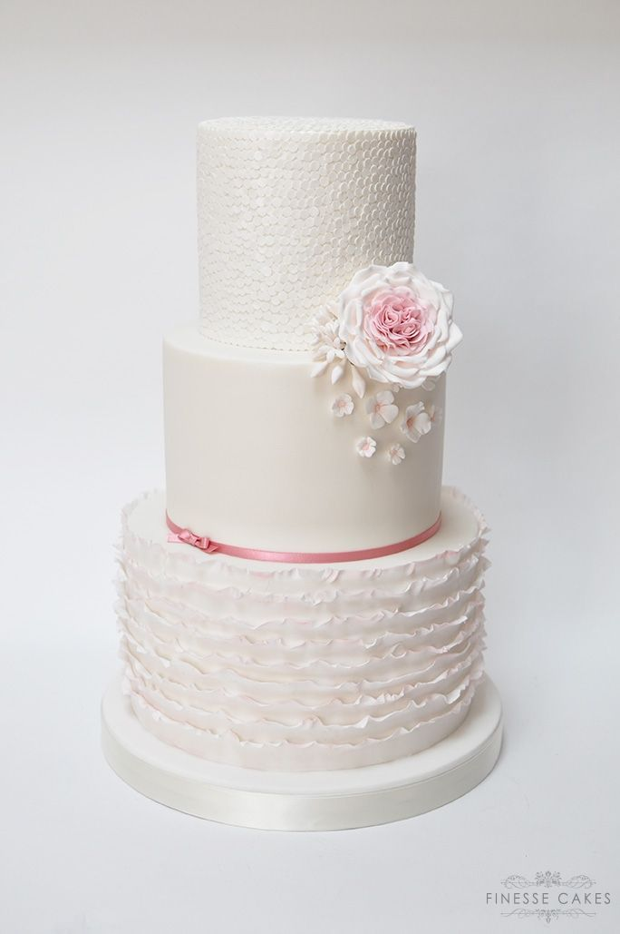 ruffles sequins david austin rose wedding cake