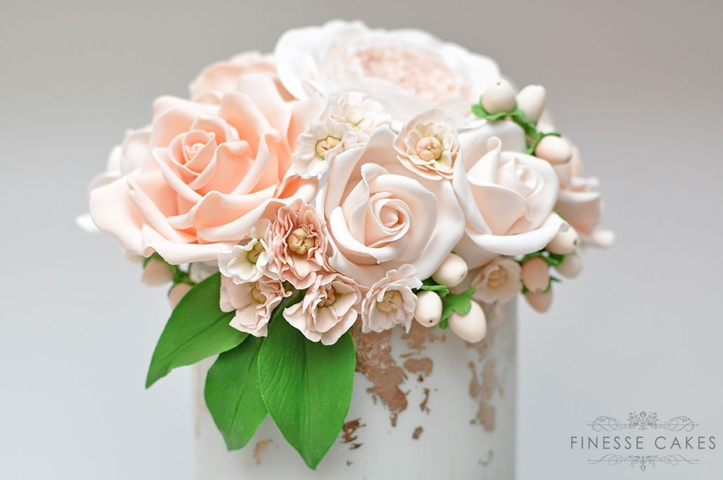 peach blush icing flowers silver leaf