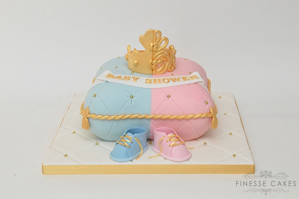 baby reveal cushion cake half and half crown booties essex